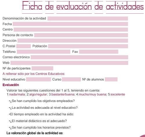 Ficha de evaluación de actividades 2009